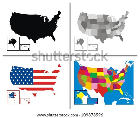 Vector - USA Maps Collection - stock vector