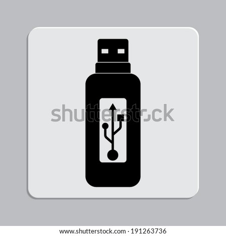Vector usb flash drive icon on a grey flat button - stock vector