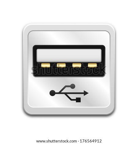 Vector USB socket icon - stock vector