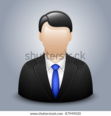 Vector user icon of man in business suit - stock vector