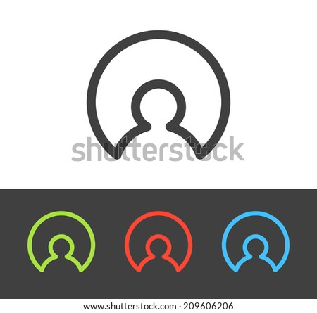 Vector user icon set, line and flat design - stock vector