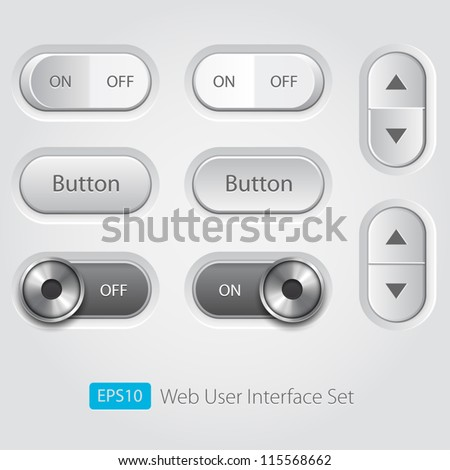 Vector user interface collection. On off buttons, bars, power buttons, toggle switch, sliders - stock vector