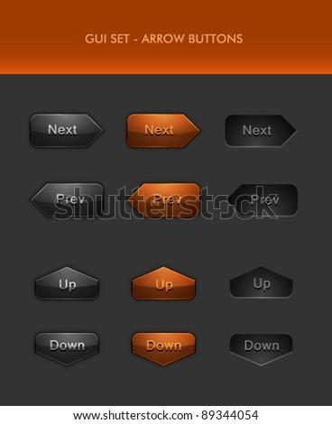 Vector User Interface Elements - Arrow Buttons - stock vector