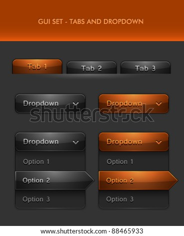 Vector User Interface Elements - Tabs and Rolldown menu - stock vector