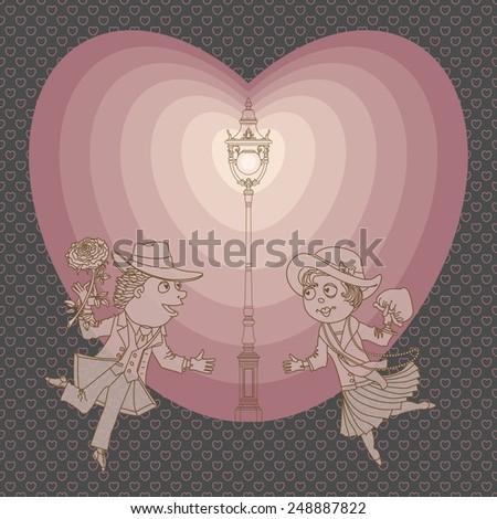 Vector Valentine background wit funny cartoon love couple and retro lantern - stock vector