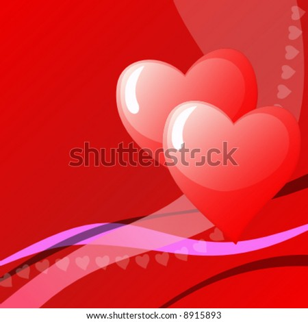vector valentine background with hearts - stock vector