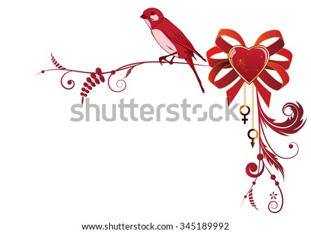 vector valentine border with bird and heart for corner design - stock vector