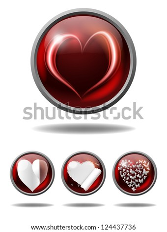 vector valentine buttons with various hearts, eps10 file, gradient mesh and transparency used, raster version available - stock vector