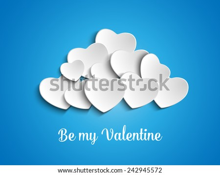 Vector - Valentine Day Heart Clouds in the Sky - stock vector
