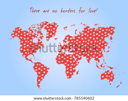Vector valentine day postcard world map stock vector 785540602 vector valentine day postcard world map with heart pattern and text there are no gumiabroncs Image collections