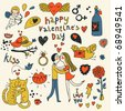 Vector valentine doodles set in color - stock vector