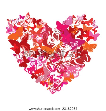 vector Valentine heart is done from butterflies - stock vector