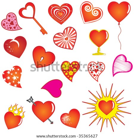 Vector valentine hearts - stock vector