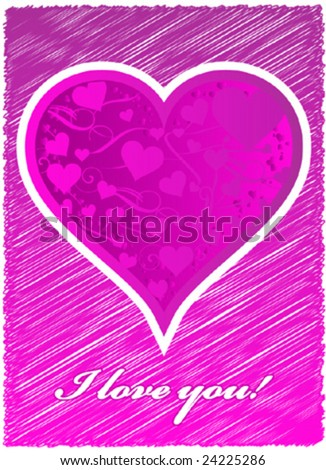 vector valentine love card - stock vector