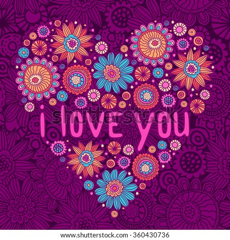 Vector Valentine's day card with floral doodles heart. Romantic purple background with flowers - stock vector