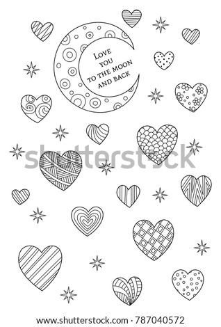 Vector Valentines Day Doodle Coloring Book Page Hearts And Moon With Text Love