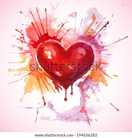 Vector Valentine's Day greeting card with a hand-drawn painted red watercolor heart with orange and pink splashes - stock vector