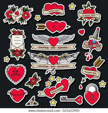 Vector valentines day hearts set traditional stock vector for Valentine s day tattoos