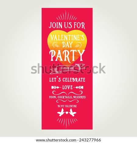 Vector christmas party invitation toys holiday stock vector vector valentines day party invitation holiday background and design banner vector template with hand stopboris Image collections