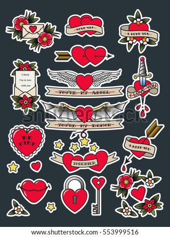Vector Valentineu0027s Day Traditional Tattooing Flash Set Tattoos Hearts,  Flowers, Lips, Arrows,