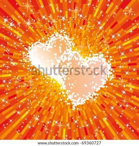 Vector valentine shiny glowing heart - stock vector