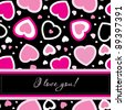 Vector valentines card on seamless hearts background - stock vector