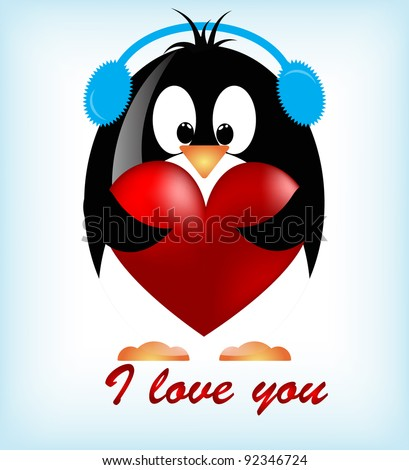 Vector Valentines Day Penguins