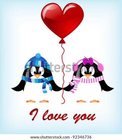 vector Valentines day penguins - stock vector