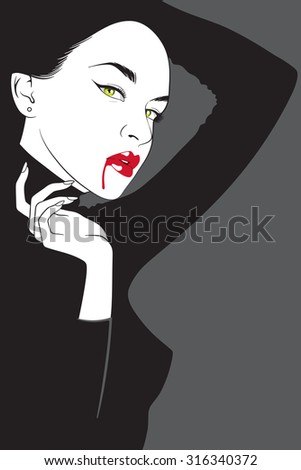 Vector vampire woman in noir comics style. Halloween design illustration - stock vector