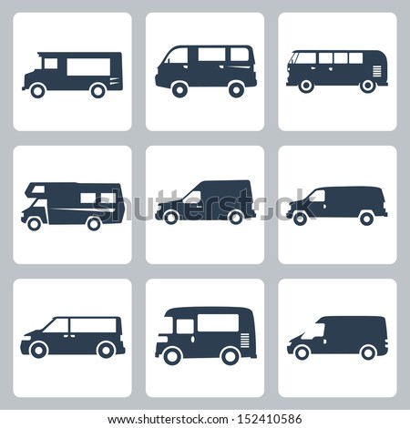 Vector vans (side view) icons set - stock vector