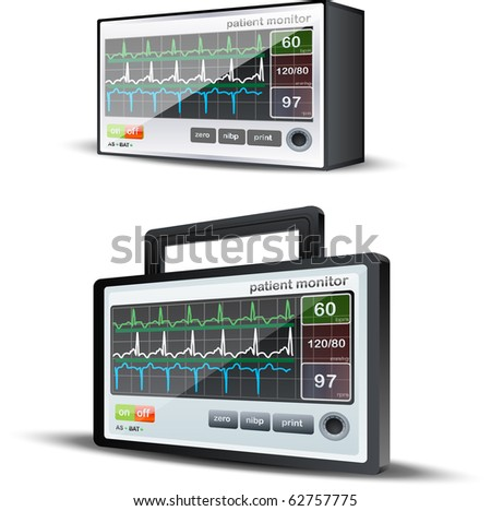 Vector 2 varietes of 3D Heartbeat monitor system - stock vector