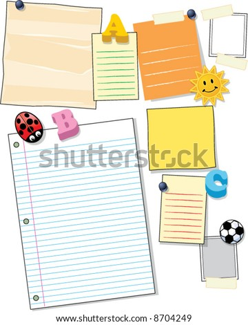 vector variety of vector note pages, papers, magnets and cards for a bulletin board - stock vector