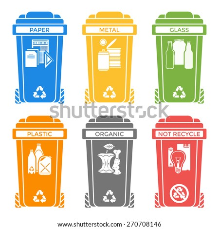Recycled materials stock images royalty free images vectors vector various colors separated recycle waste segregation bins paper plastic battery metal glass organic paper hazardous publicscrutiny Gallery