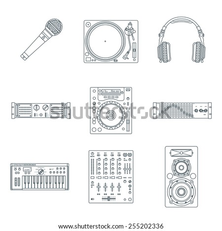 vector various dark outline sound dj equipment devices technical illustration icons set white background - stock vector