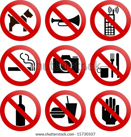 vector. various forbidden signs
