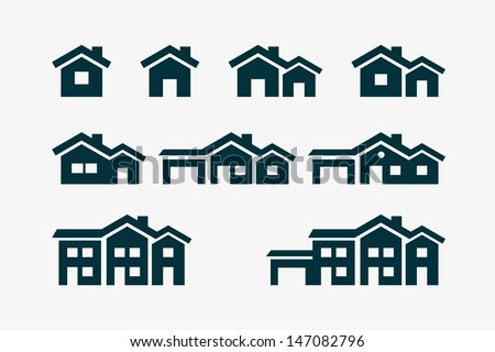 Vector various house icon set. - stock vector