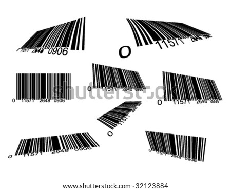 VECTOR Various Illustration of Black Bar Codes Close Up - stock vector