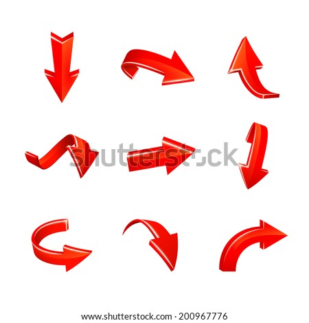 vector various red arrows set isolated on white background
