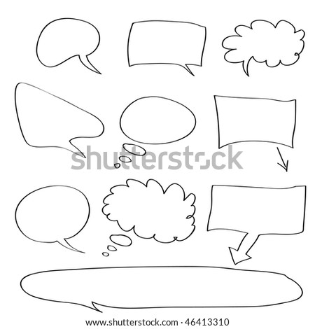 Vector - Various types of white word bubbles for text insertion, all hand drawn - stock vector