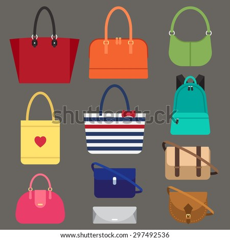 Vector various types of woman bags. Flat style. - stock vector