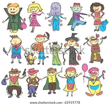 vector vector Halloween sketch with many kids doing something - stock vector
