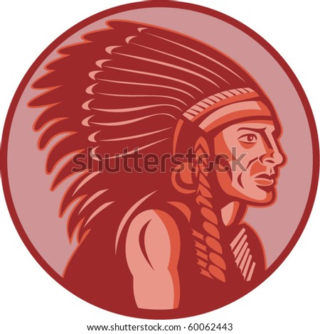 vector vector illustration of a native american indian chief side view done in retro style - stock vector