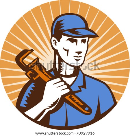 vector vector illustration of a Plumber holding monkey wrench standing front view set inside circle with sunburst done in retro style