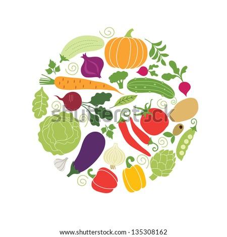 vector vegetables illustrations - stock vector