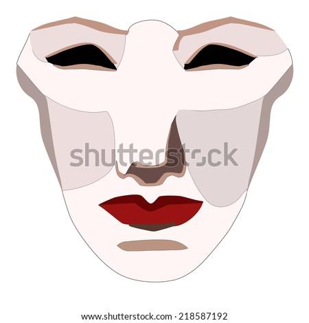 Vector Venetian woman mask - stock vector