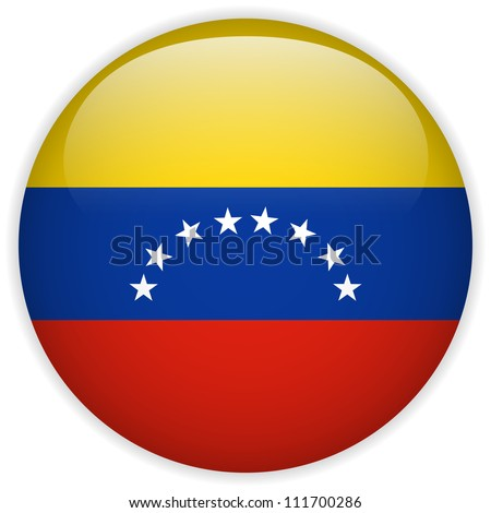 Vector - Venezuela Flag Glossy Button - stock vector
