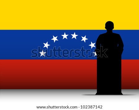 Vector - Venezuela  Speech Tribune Silhouette with Flag Background - stock vector