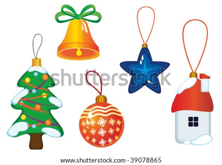 Vector version. Christmas icons and symbols for design isolated on white. Jpeg version also available