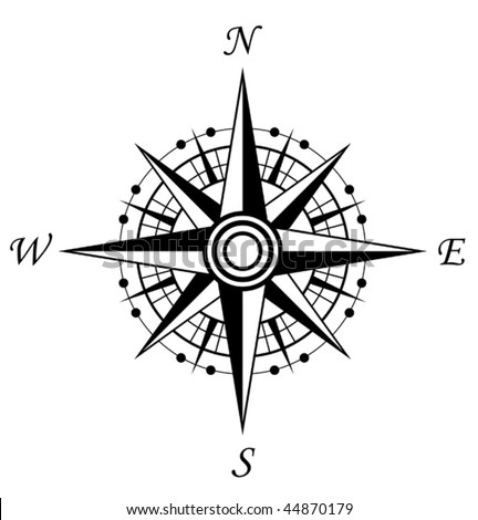 Vector version. Compass symbol isolated on white for design. Jpeg version is also available - stock vector