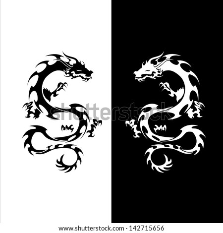 Vector version. Isolated tattoo of black and white dragon. - stock vector